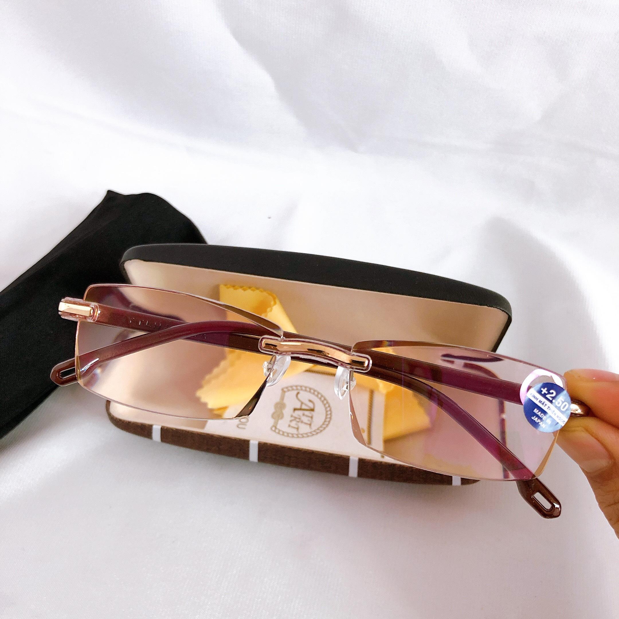 Kính lão thị viễn thi nam nữ không viền siêu nhẹ siêu bền chống uv mắt cực sáng và trong kv88