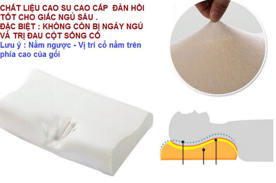Gối Cao Su Non Bamboo (30x50cm) Chống Đau Cột Sống Cổ Ngáy Ngủ