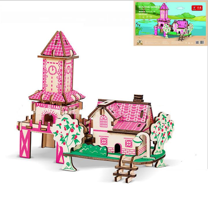 Đồ chơi lắp ráp gỗ 3D Mô hình Ngôi nhà Lãng mạn Pink Romantic Cottage Laser