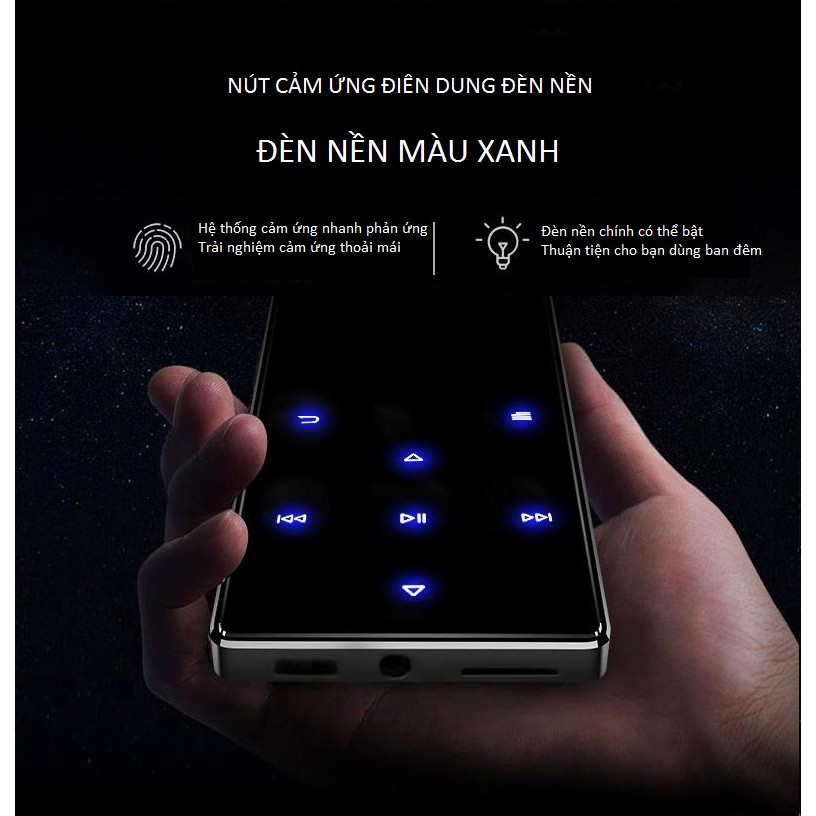 Máy nghe nhạc , Ghi âm, Xem phim Ruizu 8Gb Bluetooth 4.0 kết nối dễ dàng với tai nghe và loa di động hỗ trợ học NGOẠI NGỮ  cực tốt kèm Quạt Mini Tích Điện Cầm Tay Xịt Phun Xương - Hàng chính hãng