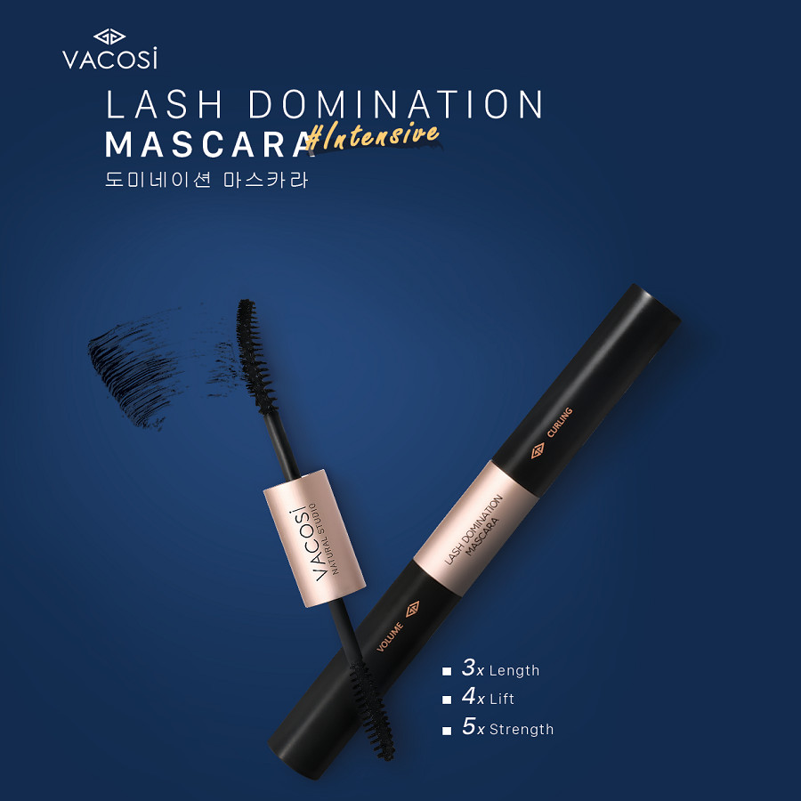 Mascara 2in1 làm dài và cong mi Vacosi Natural Lash Domination Pro 10g (Intensive Length & Lift)