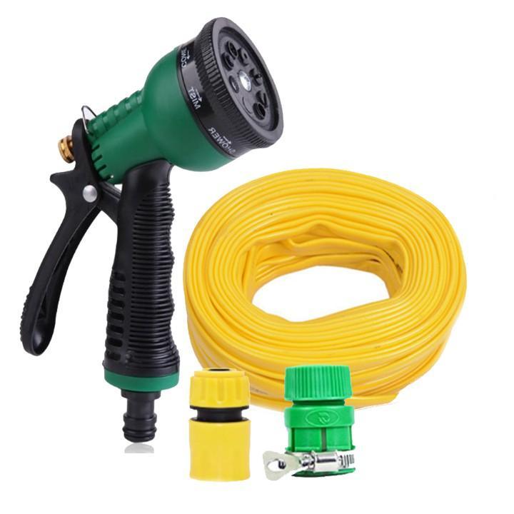 Vòi xịt rửa xe,Vòi phun nước tưới cây tăng áp thông minh 8 chế độ 815621-1 (cút vàng,nối xanh - dây vàng)