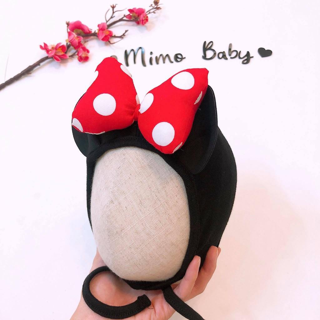 Mũ cotton tai mickey cho bé - mũ buộc dây (0-12m)