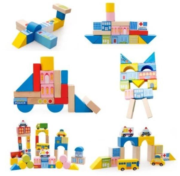 Đồ chơi xếp hình thành phố bằng gỗ