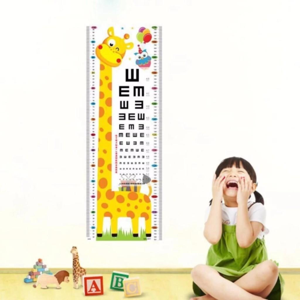 Decal dán tường thước đo chiều cao cho bé hình ngộ nghĩnh đáng yêu