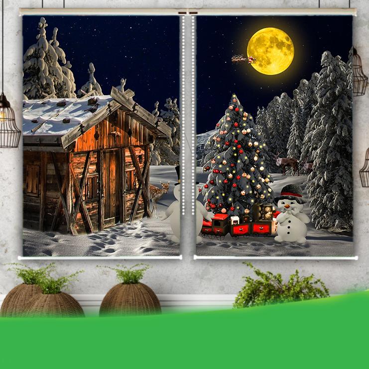 Rèm Tranh 2 Tấm Mẫu Giáng Sinh_CMAS36