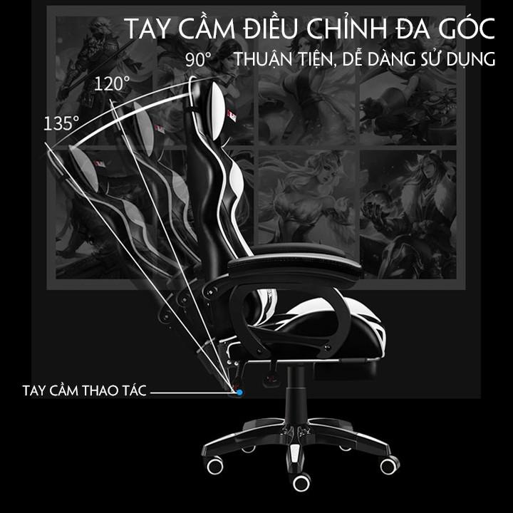 Ghế Gaming Cao Cấp Chân Xoay 360°. Ghế Game Kèm Gối Tựa Massage Lưng. Full Colour