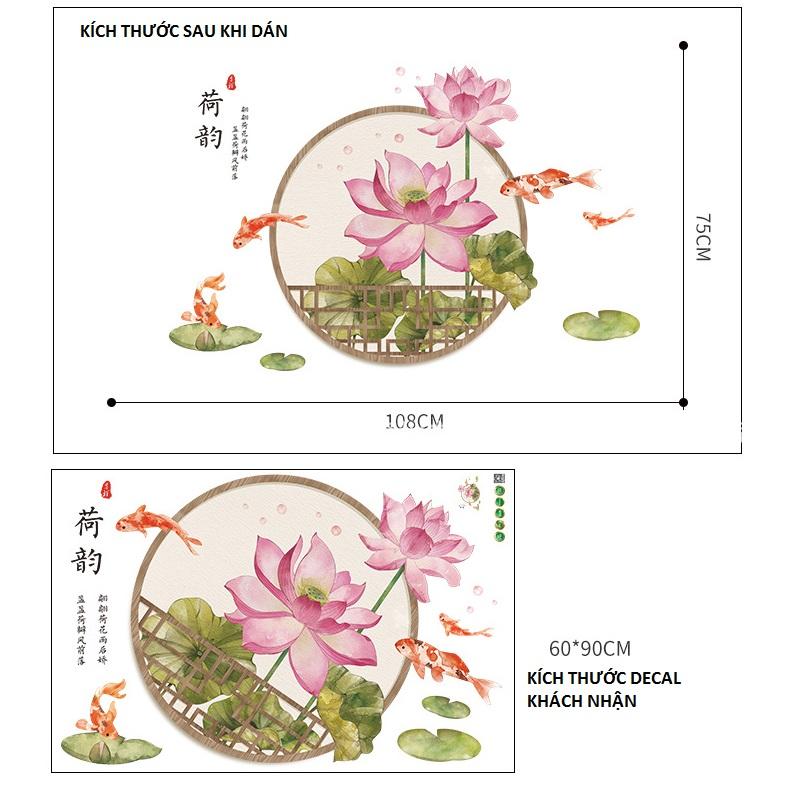 Decal dán tường Hoa sen 11 thủy mặc trang trí nhà cửa siêu đẹp, sáng tạo (75 x 108 cm)