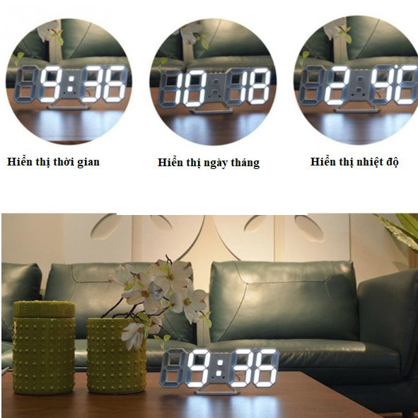 Đồng Hồ Led Để Bàn và Treo Tường (Tặng máy đồng hồ)