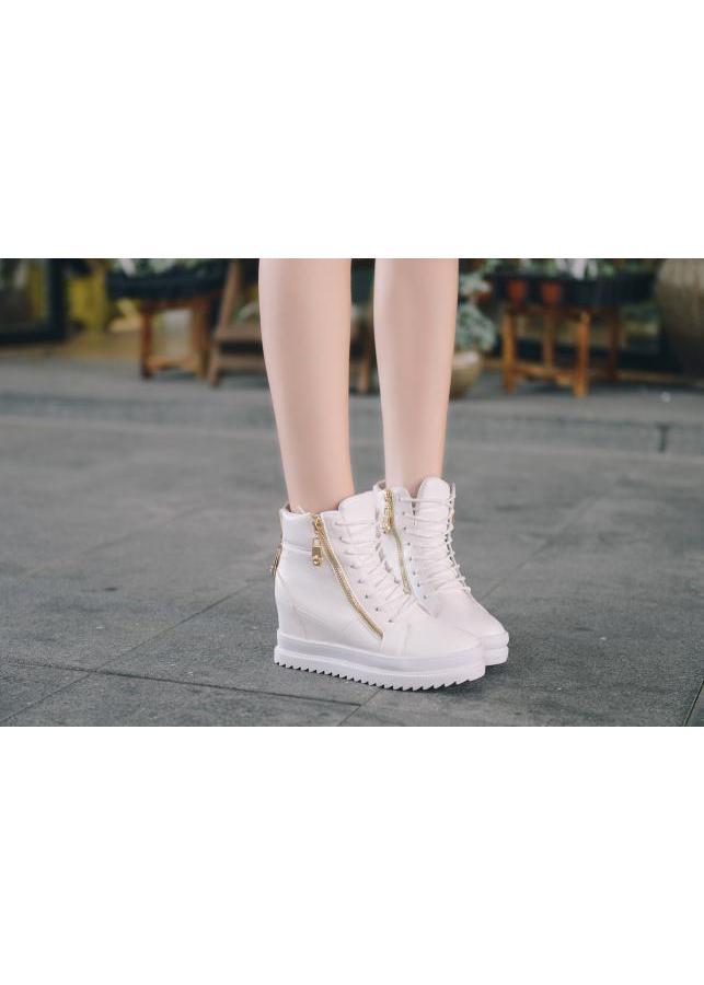Giày boot nữ cổ cao độn đế cá tính B042T (Trắng)
