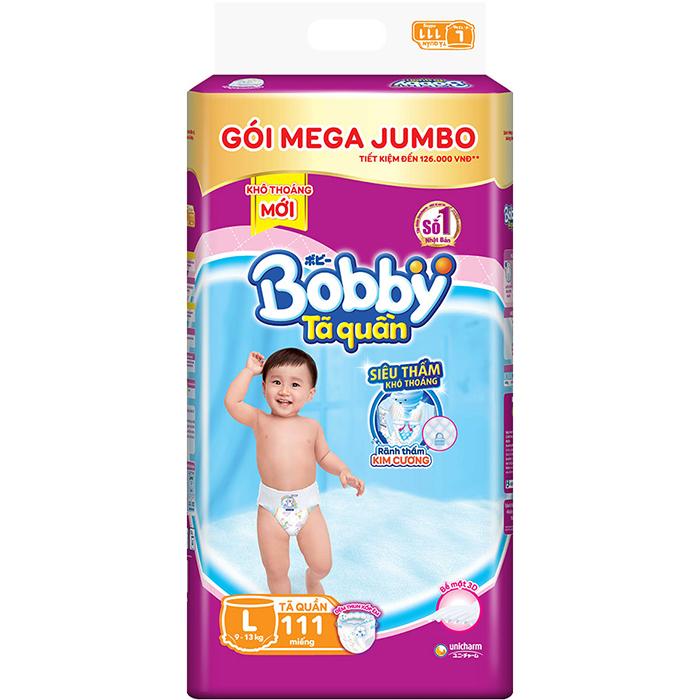 Hình ảnh Tã quần Bobby siêu thấm khô thoáng Mega Jumbo L111 [Tặng khay ăn thông minh]