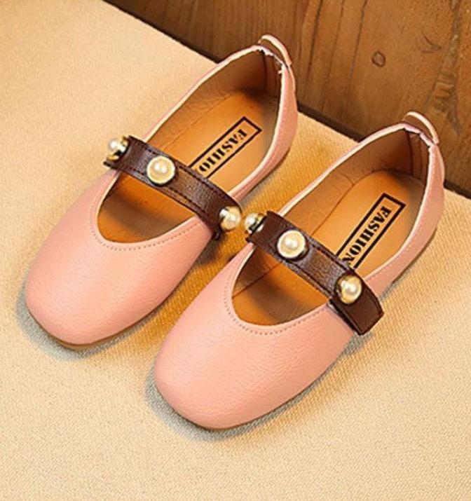 giày búp bê quai đính ngọc hồng