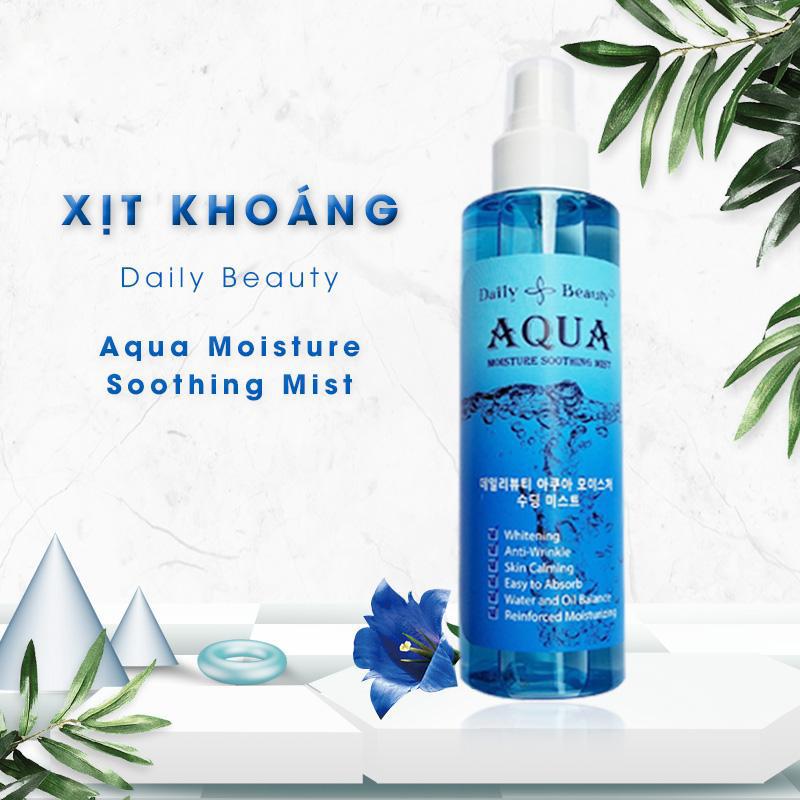 Xịt khoáng Daily Beauty R&B Aqua Moisture Soothing Mist chính hãng LB Cosmetic Hàn Quốc chiết xuất 100% tự nhiên, cấp ẩm tức thì, cân bằng da, làm mềm da, kháng khuẩn, se lỗ chân lông, làm sáng da, ngừa lão hóa, giữ lớp trang điểm mềm mịn lâu trôi, 150ml