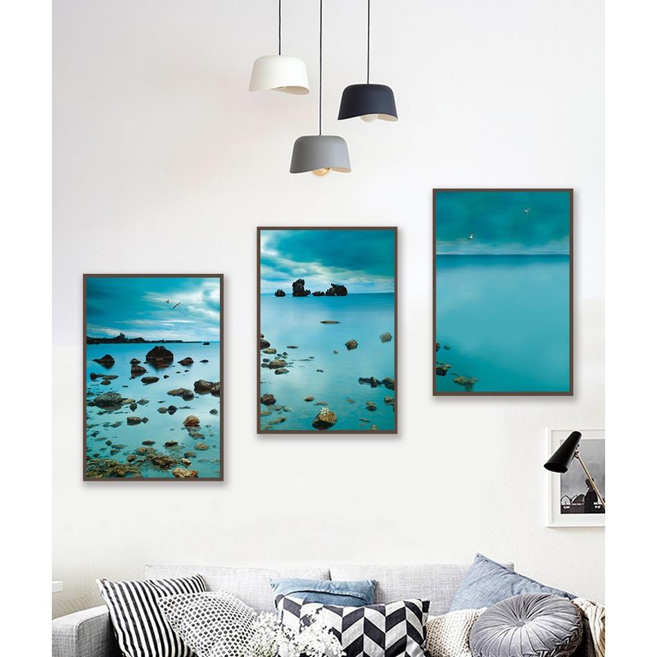 Tranh đóng khung treo tường-Biển xanh- Bộ 3 khung 40*60