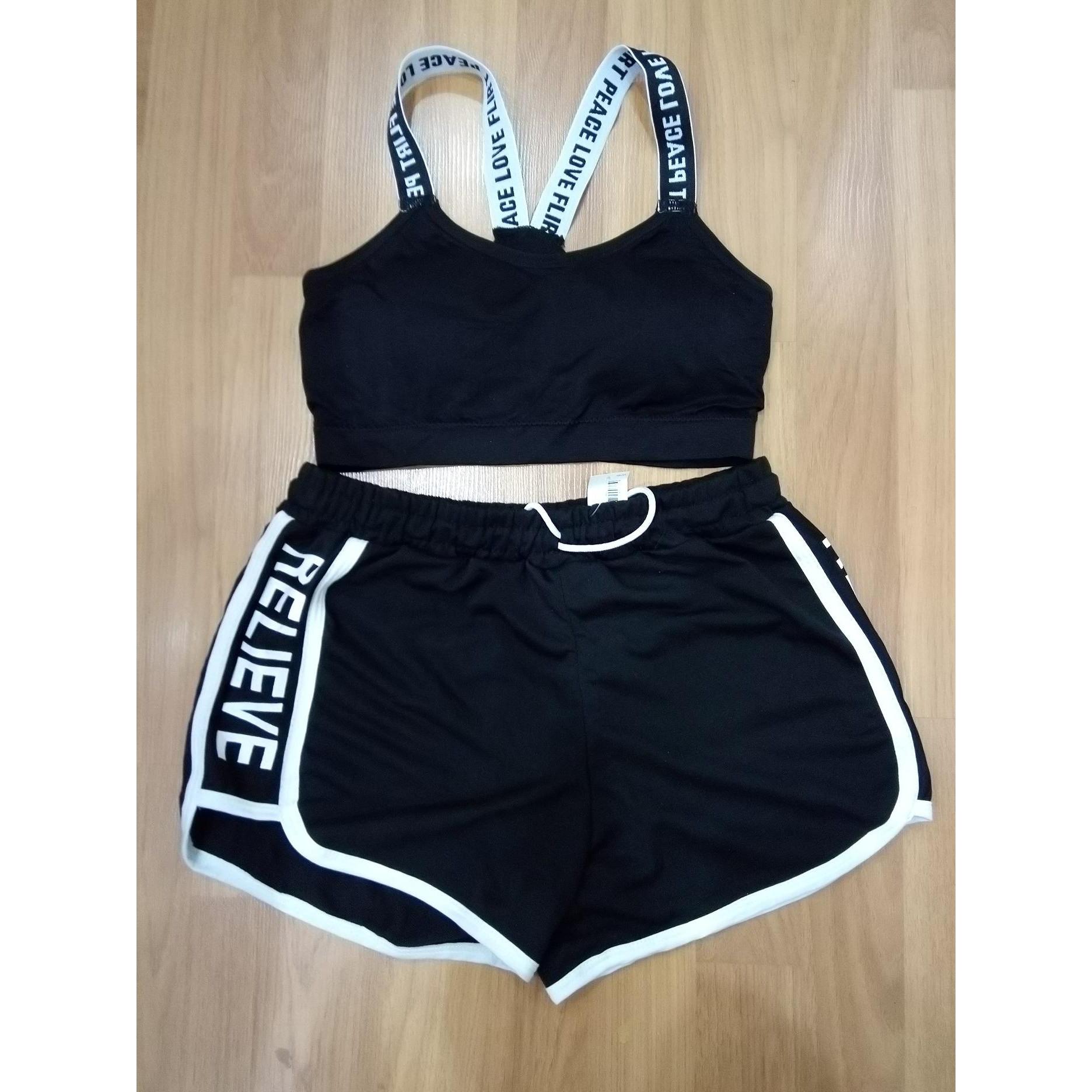 Bộ quấn áo thể thao tập gym co giãn nữ màu đen