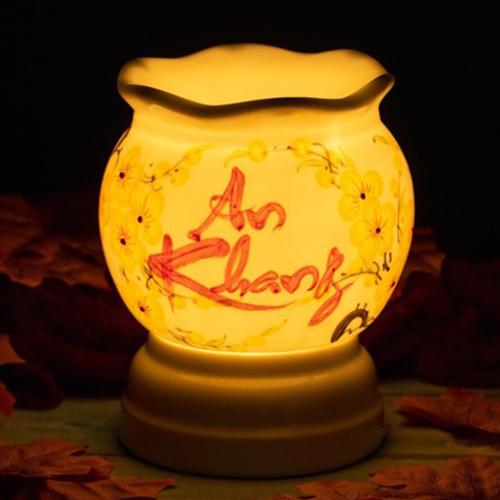 Đèn đốt tinh dầu tạo độ ẩm và mùi thơm bình gốm sứ chữ An Khang
