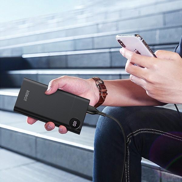 Pin Sạc Dự Phòng 10.000mAh ROBOT LED Hiển Thị PIN - 1 Output USB & 2 Input Micro/Type-C - Hàng Chính Hãng