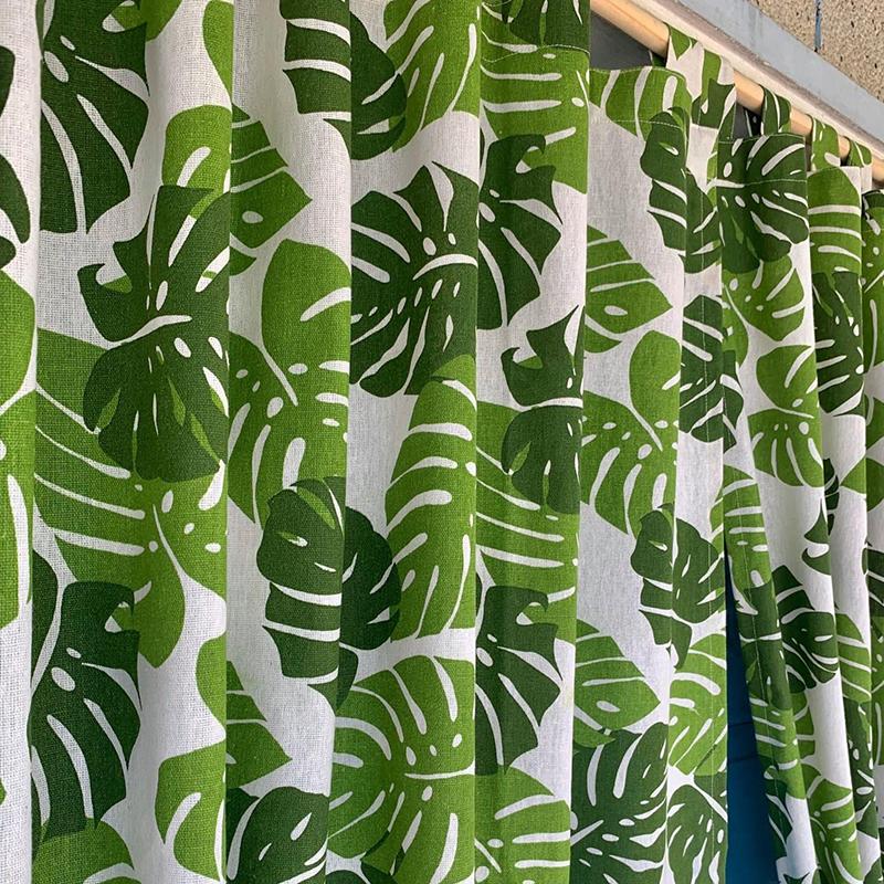 Rèm cửa sổ, rèm vải, rèm decor MARYTEXCO trang trí nhà cửa, làm dịu nhẹ ánh sáng tự nhiên, rèm ore hoàn thiện tặng kèm dây buộc rèm vintage - họa tiết LÁ CỌ XANH R-B02 (Giao hàng cho vận chuyển trong 8h làm việc)