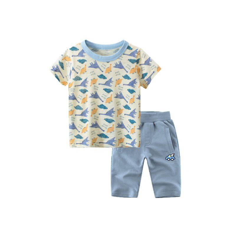 Bộ đồ cho bé trai in hình khủng long và xe đáng yêu