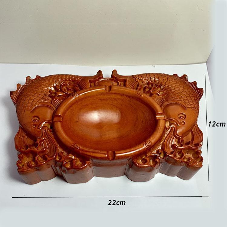 Gạt tàn Gỗ Hương chạm khắc CÁ CHÉP độc đáo CVV24 ( 22 x12 x4 cm)