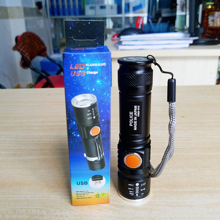 Đèn pin mini siêu sáng Police Nhật Bản (Màu đen) - Hàng nhập khẩu