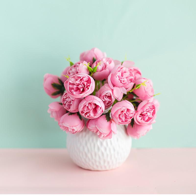 Chậu cây hoa giả gốm sứ hình bầu vân tổ ong trắng 20x20cm