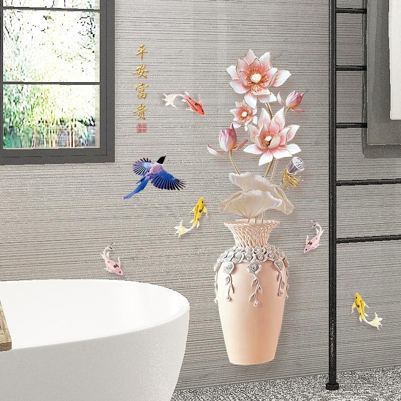 Decal dán tường Hoa sen 11 trang trí phòng khách,phòng ngủ đẹp