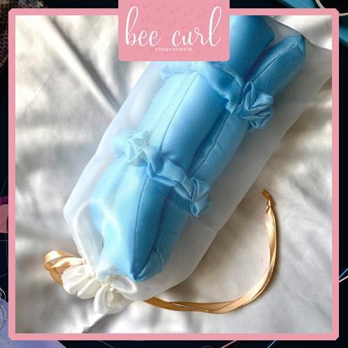 Thanh uốn tóc xoăn không cần nhiệt , Lụa bông uốn tóc BeeCurl Kèm 2 cột tóc baby(1 thanh,2 scrunchies,kẹp và 1 túi đựng)