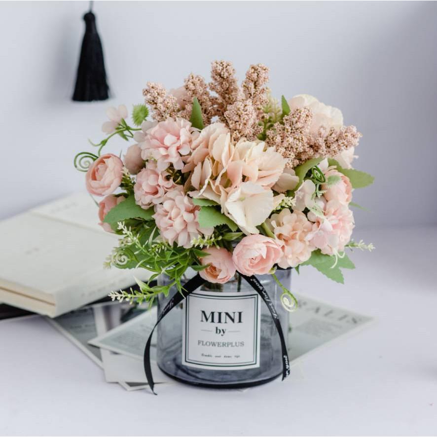 Chậu cây hoa giả MINI hoa cẩm tú cầu hoa hồng 20x20cm
