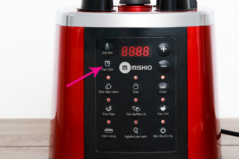 Máy làm sữa hạt đa năng 7 chức năng Mishio MK160 1.75L 1000W - Màu đỏ - Hàng chính hãng