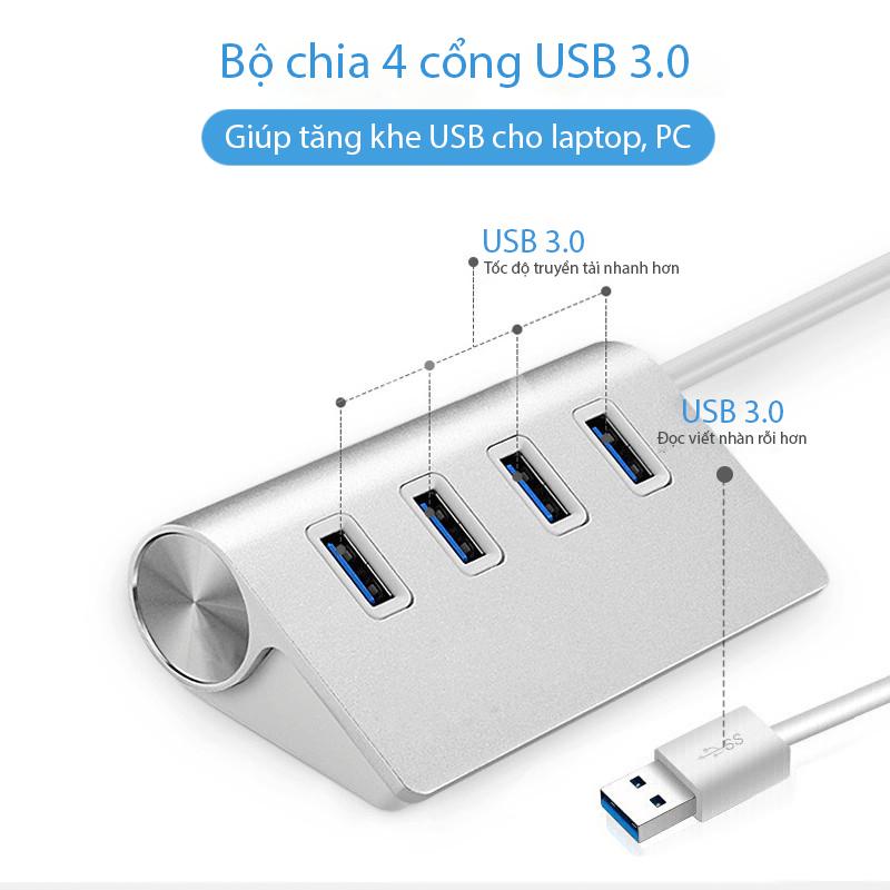 Hub bộ chia USB 3.0 MD1 tốc độ cực nhanh chất liệu hợp kim nhôm cực hiện đại có thể sử dụng cho nhiều thiết bị mà không bị chập chờn thích hợp cho cả máy tính và điện thoại