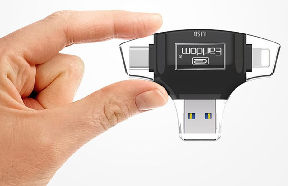 Đầu đọc thẻ 4 trong 1 (Lightning, Type-C, Android, USB) cho thẻ MicroSD và SD Earldom ET-OT31 - Hàng nhập khẩu