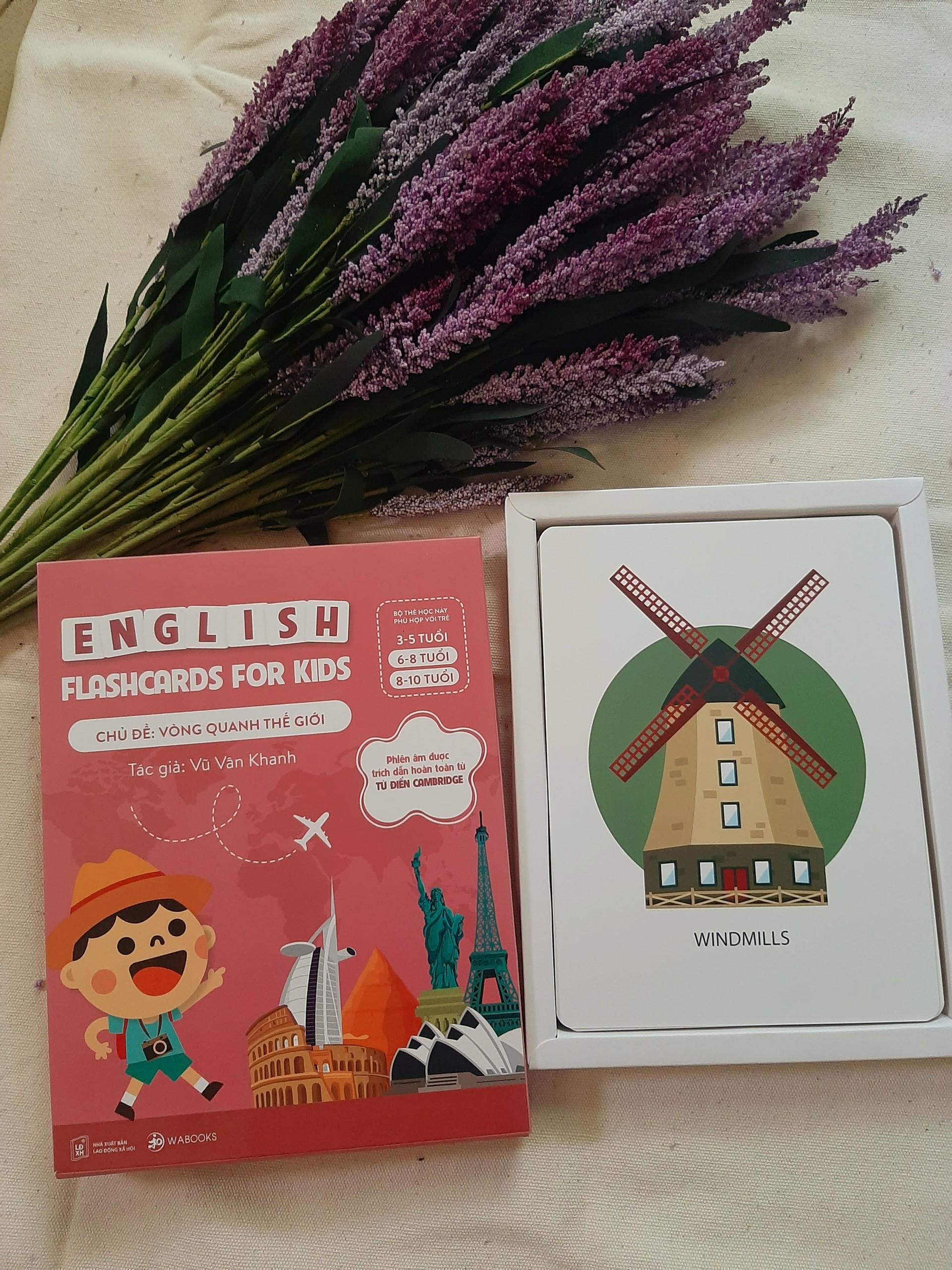 Bộ 30 Thẻ Học (Flashcards) Thông Minh Song Ngữ Tiếng Anh Phiên Âm chuẩn CAMBRIDGE - Chủ đề : Vòng Quanh Thế Giới ( cho bé 3 - 10 tuổi), Chất liệu giấy Ivory cao cấp
