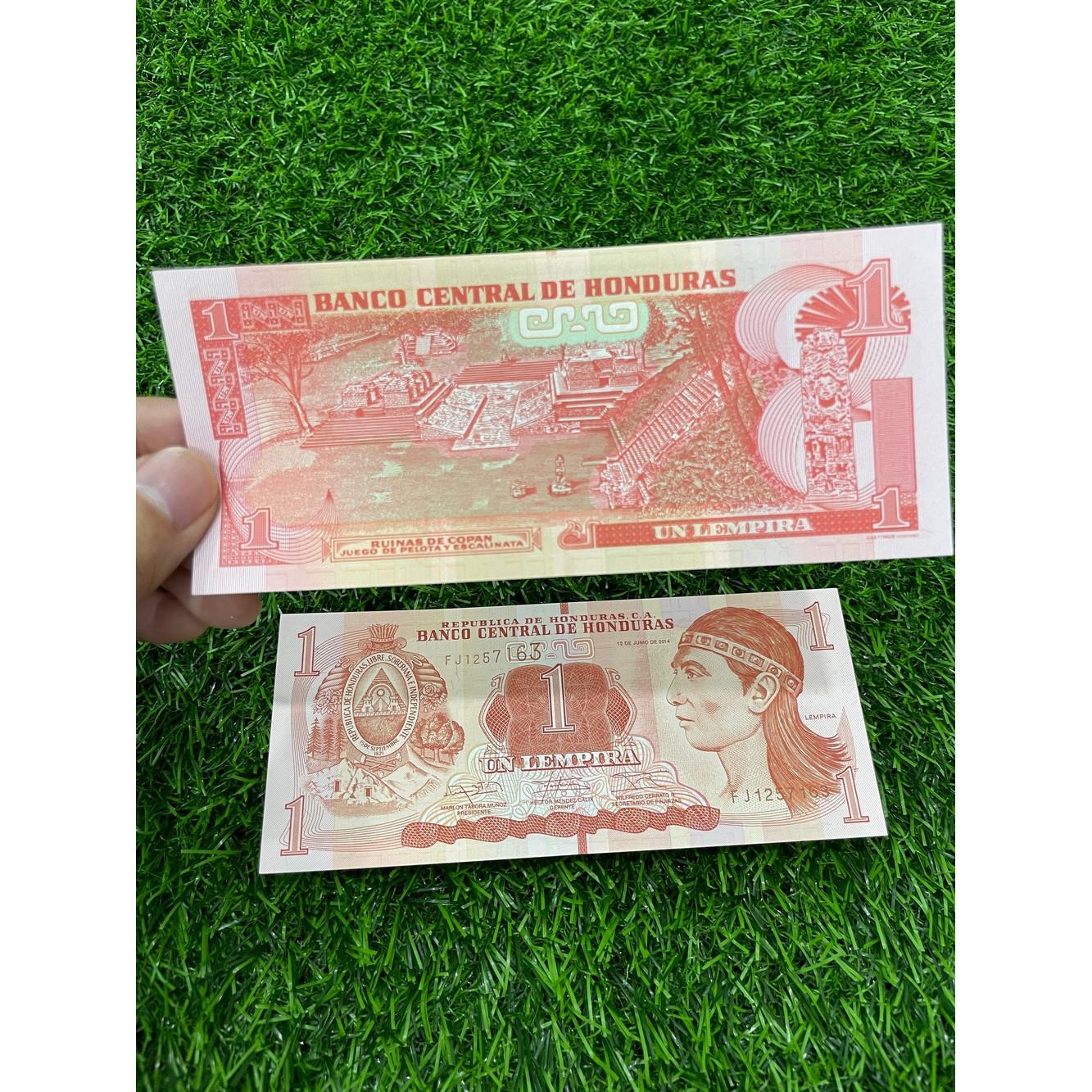 Tiền Honduras 1 Lempiras, ở Nam Mỹ, mới 100% UNC, tặng túi nilon bảo quản