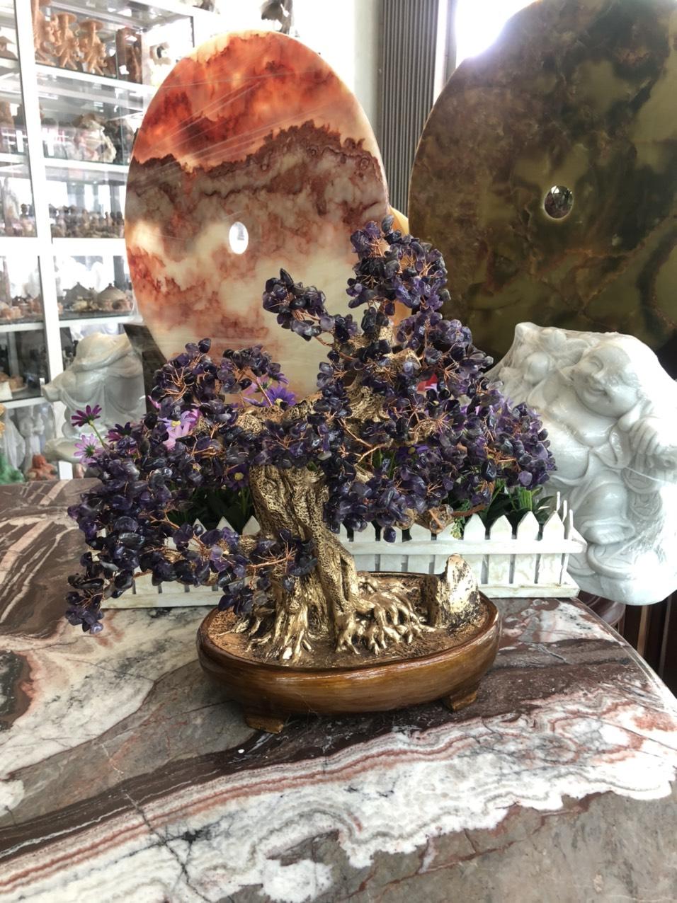 Cây Tài Lộc bonsai phong thủy đá thạch anh tím - Cao 40 cm