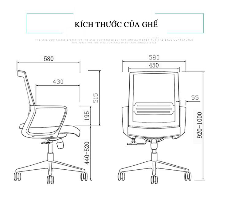 Ghế xoay văn phòng cao cấp BOX38 - Lưng lưới thoáng mát - Dễ dàng thay đổi độ cao