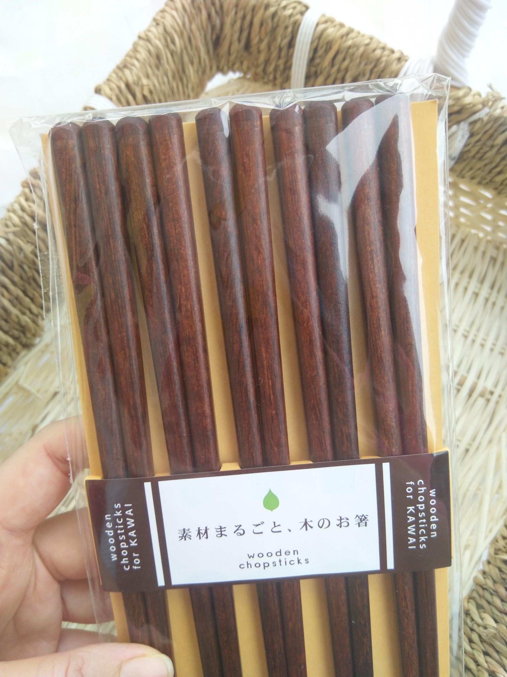 Bộ 5 đôi đũa gỗ cao cấp sang trọng màu nâu Nội địa Nhật Bản