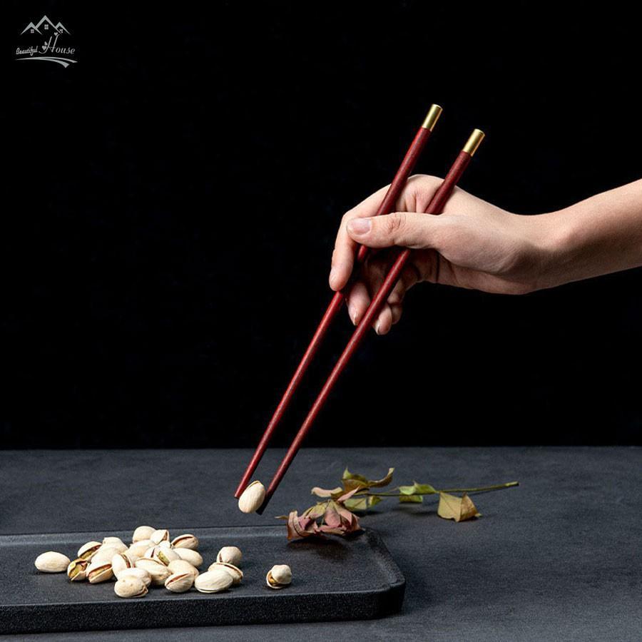 Đũa Gỗ Cao Cấp - Đũa Gỗ Ăn Cơm Không Chất Bảo Quản - Phong Cách Nhật Bản - Set 5 Đôi, 10 Đôi