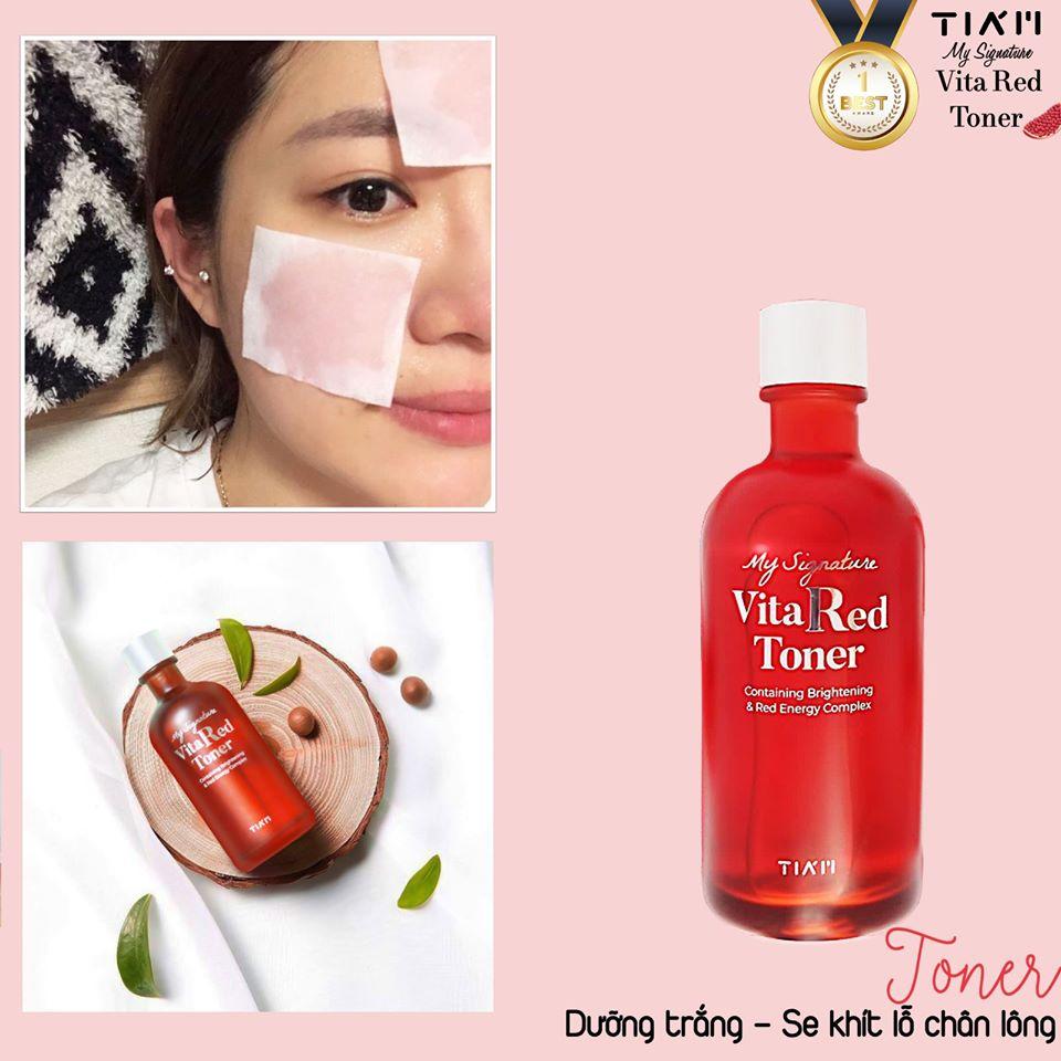 Nước Hoa Hồng Dưỡng Trắng, Se Khít Lỗ Chân Lông Tiam My Signature Vita Red Toner 130ml + Mặt nạ 3D Foodaholic