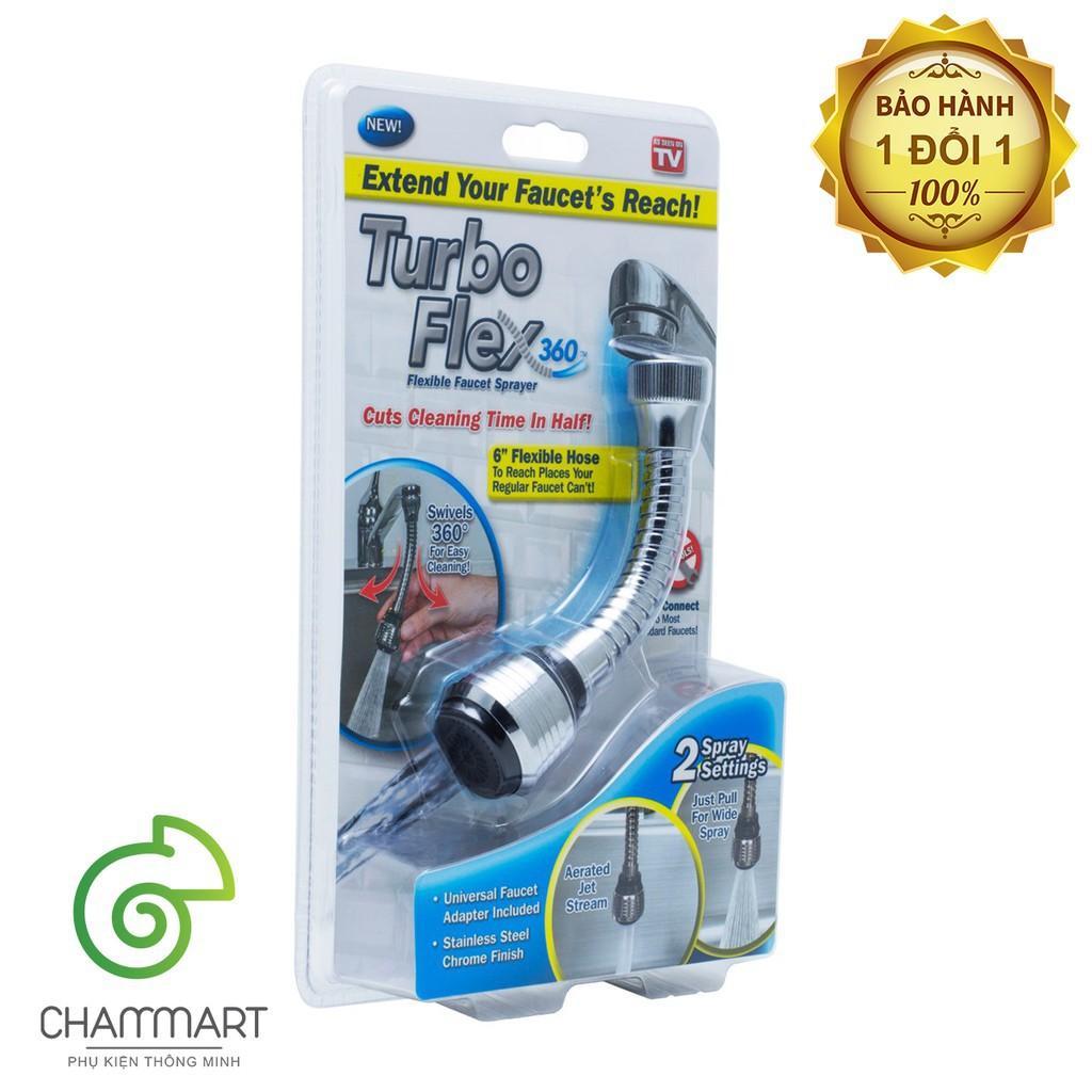 Đầu vòi xịt nước tăng áp cho vòi bồn rửa Turbo Flex 360 mới thiết kế dạng vòi sen điều chỉnh dòng nước Chammart