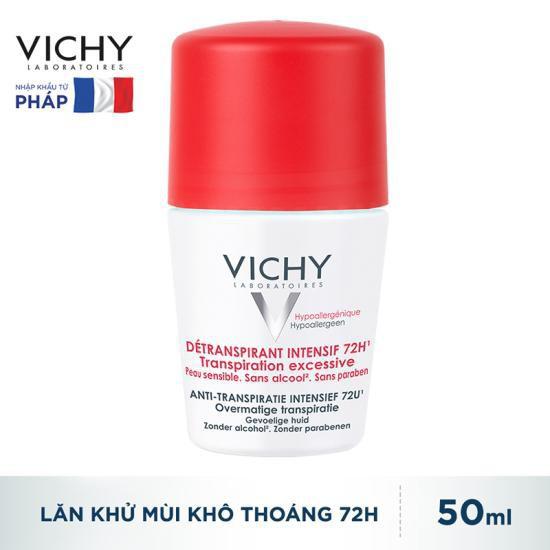 Lăn Khử Mùi Vichy Ngăn Mồ Hôi Giữ Khô Thoáng Suốt 72h Déodorant Detranspirant Intensif 50ml