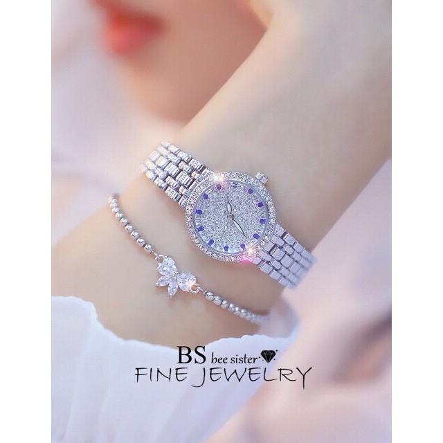 Đồng hồ nữ BS chính hãng mặt đính đá lấp lánh dây thép cao cấp không gỉ