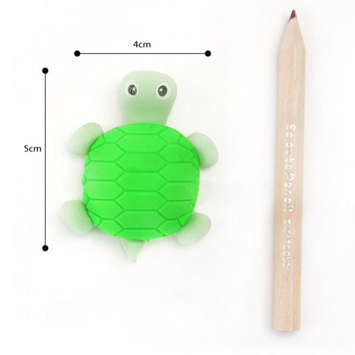 Combo 4 Tẩy bút chì ngộ nghĩnh hình con rùa - Giao màu ngẫu nhiên
