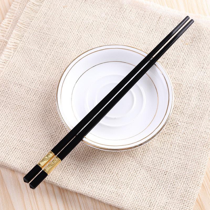 Bộ 10 đôi đũa mạ vàng bạc kiểu Nhật cao câp kèm hộp đựng B12