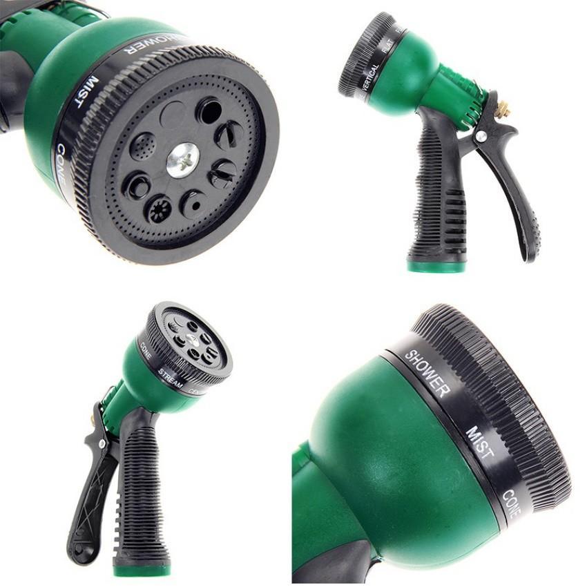 Vòi xịt rửa xe,Vòi phun nước tưới cây tăng áp thông minh 8 chế độ 815576-1 (cút đồng,nối đồng - dây xám)