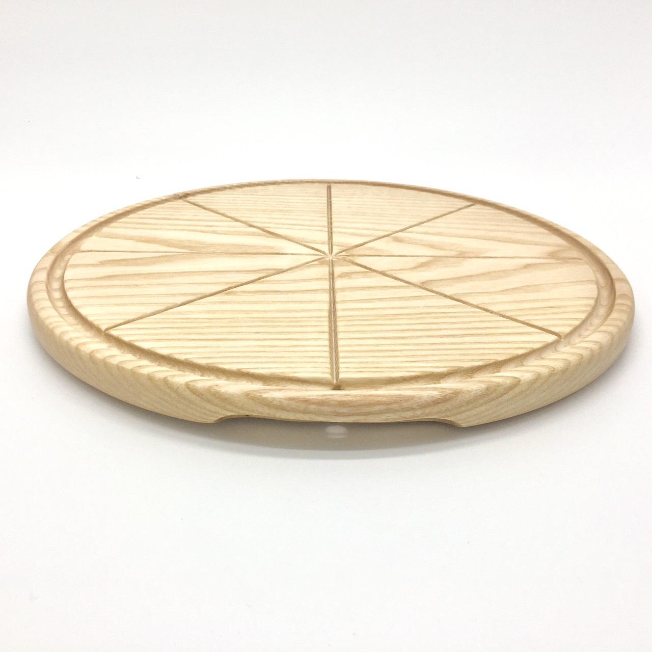 Khay tròn đựng pizza có khoét tay cầm hai bên, xẻ rãnh