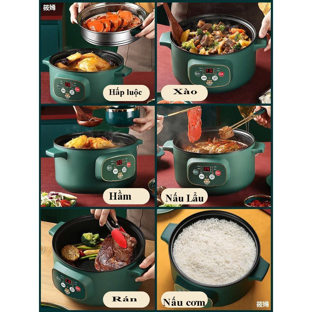 Nồi Lẩu Mini Đa Năng Xào, Hấp, Chiên, Nấu Cơm, Nấu Cháo Tặng Kèm Bộ Dụng Cụ 6 Món