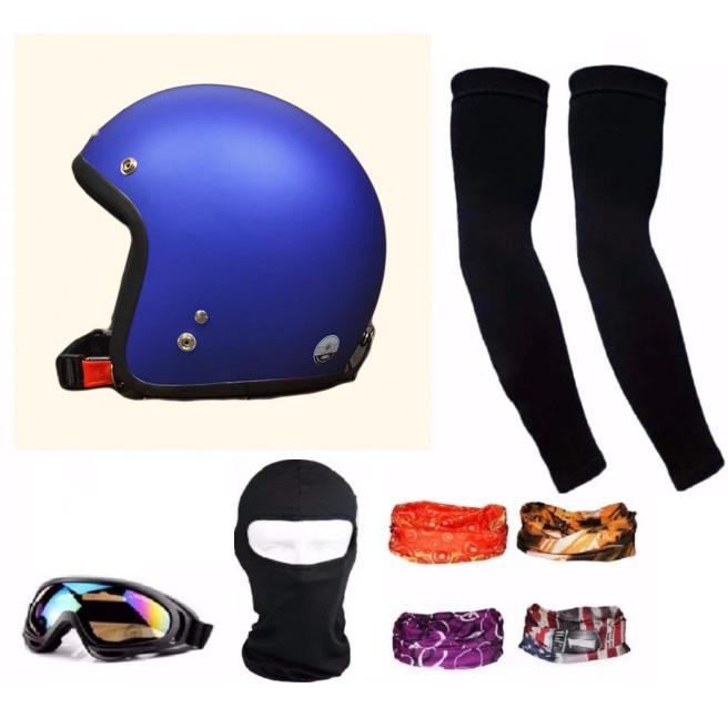 Bộ 1 nón bảo hiểm 3/4 đầu (Xanh) + 1 mũ ninja + 1 đôi bao tay chống nắng + 1 kính phượt + Tặng 2 khăn phượt đa năng