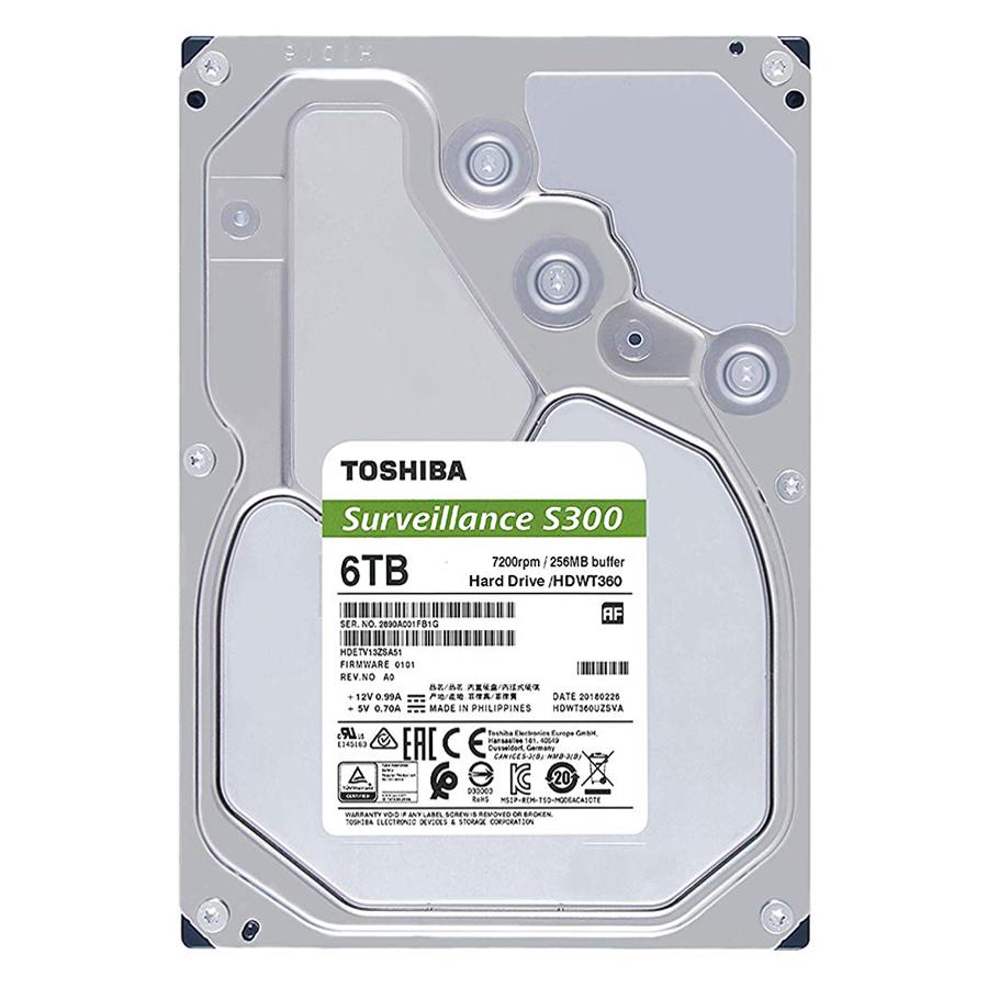 """Ổ Cứng HDD Toshiba S300 3.5"""" 6TB Surveillance 256MB 7200rpm SATA3 HDWT360UZSVA - Hàng Chính Hãng"""
