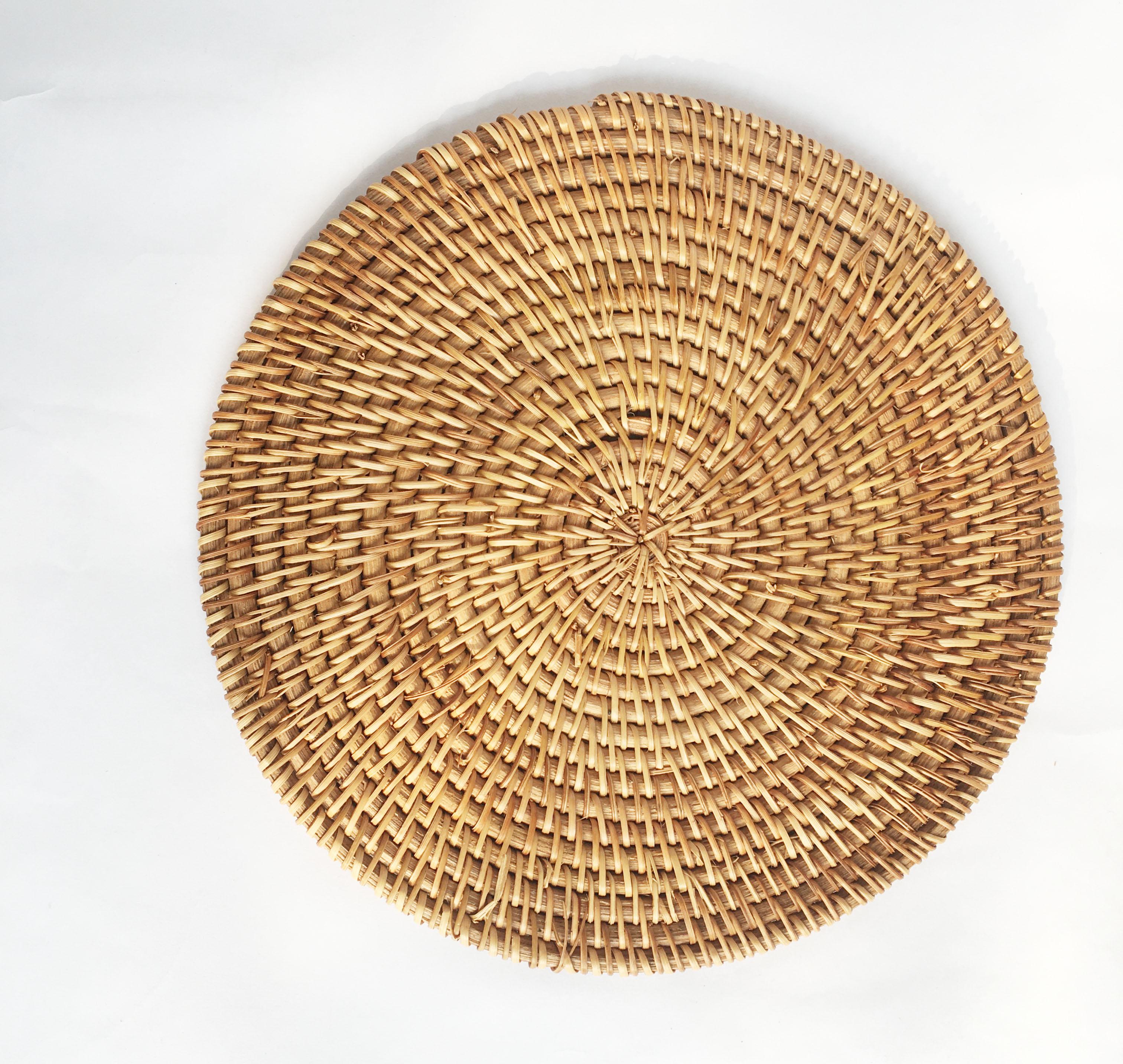 Tấm lót bàn cách nhiệt lót chén dĩa Lót ly mây guột tự nhiên KT 13cm lót, decor chụp ảnh, trang trí phụ kiện bàn ăn (1 cái)